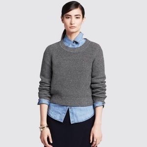 Banana Republic Gray Shaker Stitch Crop Sweater